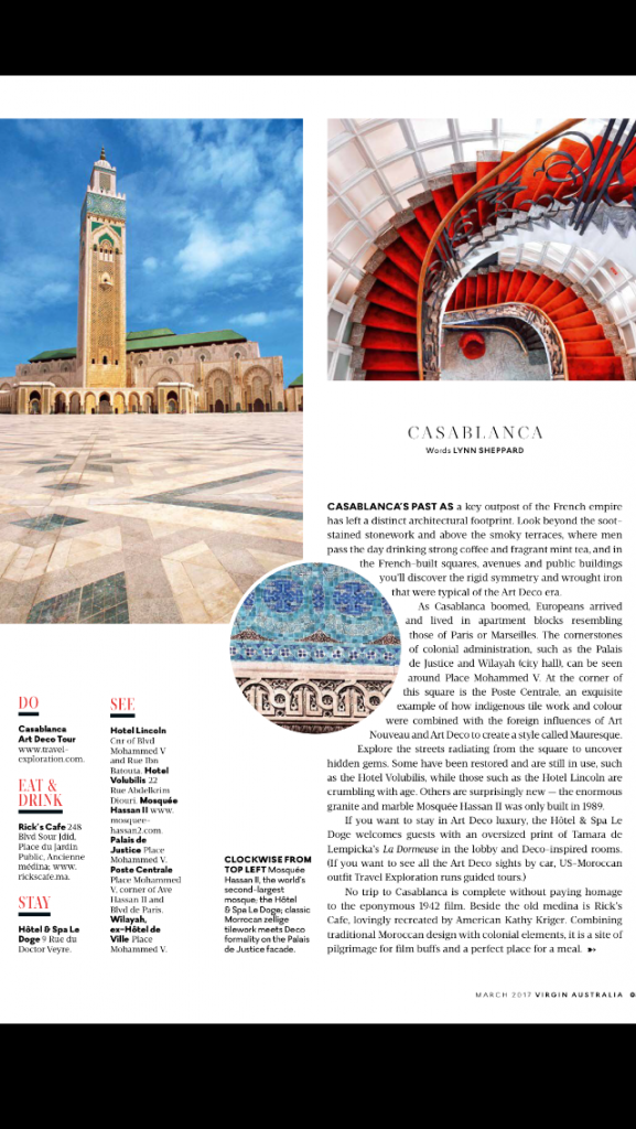 Virgin Australia Voyeur Magazine March 2017 - Art Deco Casablanca